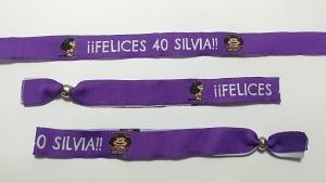 pulseras de tela personalizadas cumpleaños Silvia